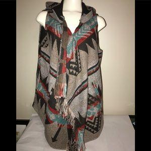 Anthropologie Azel Hazel Southwestern hooded vest
